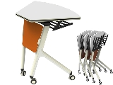 Click here for details - Office table, Type: Folding, Material: MDF, Colour: White + Orange, Shape: Fan, Legs: Stainless steel, Length: 727mm, Width: 573mm, Height: 750mm, Inclusions: Wall stackable training table,25mm thickness MDF top with stainless leg., Note: EXW(EX WORKS) PRICERating: ••••