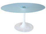 Click here for details - Table, Type: Dining, Material: Glass, Colour: White, Seating capacity: 4 seater, Shape: Oval, Width: 145cm, Height: 73cm, Note: Many colours available., Note: EXW ( EX WORKS ) PriceRating: •••°