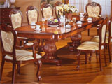 Click here for details - Table, Type: Large Dining, Material: Wood, Seating capacity: 10 seater (Chairs not included), Shape: Extension, Width: 3000mm/9500mm, Depth: 1200mm/2000mm, Height: 780mm, Note: This dining table and set can be ordered with many sizes, Including seating from 10 seats, and any combinations up to 42 seats with additional pedistals, Note: Pice on application for different seating sizes , P.O.ARating: ••••