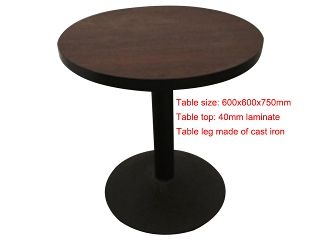 Table, Type: Meeting, Material: Laminate, Colour: As photo, Seating capacity: 2 seater, Shape: Round, Legs: Cast iron, Width: 600mm, Depth: 600mm, Height: 750mm, Note: EXW ( EX WORKS ) Price